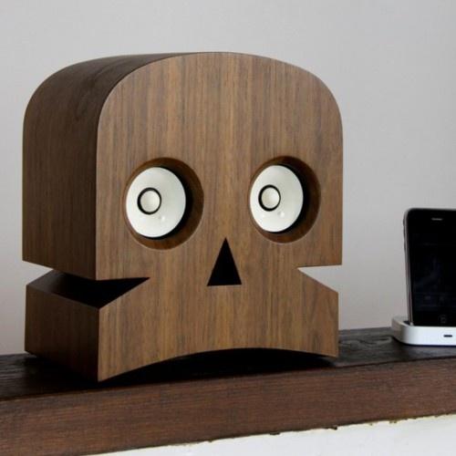 Wooden skull speakers - desktop - tech gear
