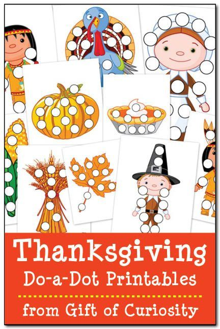 Free Thanksgiving do-a-dot printables featuring male and female Indians, male and female Pilgrims, turkey, corn, pumpkin, pumpkin pie, wheat, and leaf.