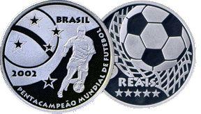 moeda de prata comemorativa do Pentacampeonato Mundial de Futebol