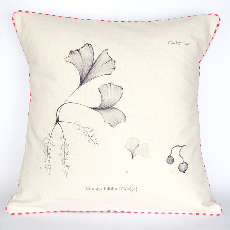 Beautifully illustrated Ginkgo Botanical Cushion. Spring/Summer collection 2014.