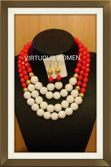 Red and white chunky large beads All colours available
