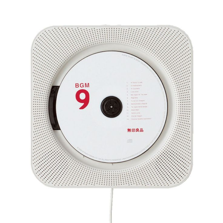Iconic Muji wall mounted CD player designed by Naoto Fukasawa, now includes an FM radio, remote control and backlit LCD display. To make a disk play you simply pull the cable down.