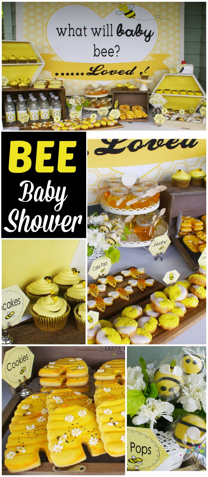 How adorable is this bumble bee baby shower?! See more party ideas at CatchMyParty.com!