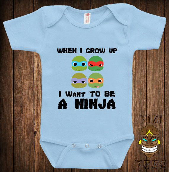 Funny Baby Infant Bodysuit Clothes Romper One-Piece One Piece When I Grow Up I Want To Be A Ninja Joke Humor Fun Nerd Adorable Cute Shower