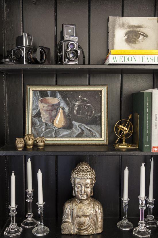 Gentleman's Bachelor Pad by Design Manifest: Black wall shelf stylilng