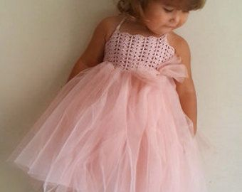 Taupe Baby Tulle Dress with Empire Waist and par AylinkaShop