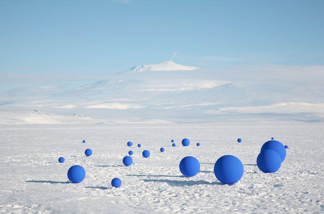 Blue Balloons Installation in Antarctica