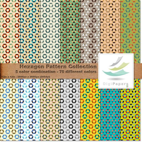 Hexagon Pattern Collection by DigiPapers