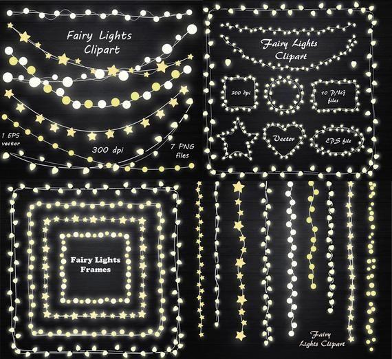 GROßER Satz von Lichterketten Clipart, String Lichter Clipart, Lichterkette Rahmen, Lichter ClipArt, EPS, Vektor, persönlichen und kommerziellen Gebrauch