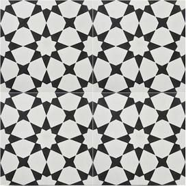 """8""""x8"""" Medina Handmade Cement Tile, Black and Off-White, Set of 12, by Moroccan Mosaic and Tile House"""