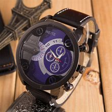 2015 Fashion Luxury Mens Analog Sport Steel Case Quartz Leather Wrist Watch Wristwatches Men Women Watch Perfect Gift