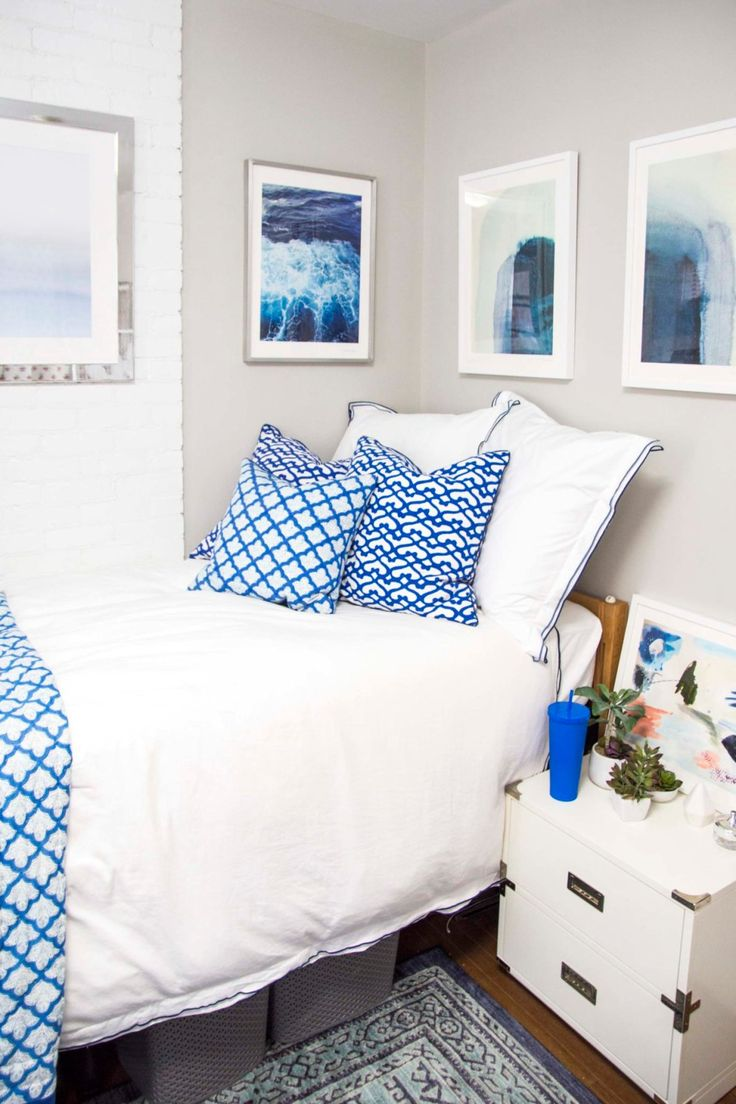 Go behind the scenes with Kevin O'Gara Thou Swell blog to see how he designed a blue dorm for a student at Cornell University, featuring Mohawk Home's Blue Barrow area rug.