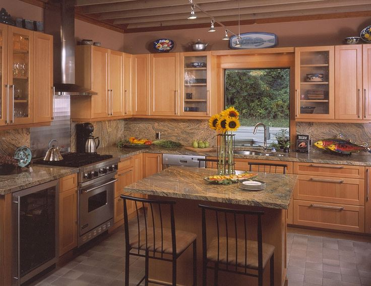 Shaker kitchen with sunflowers