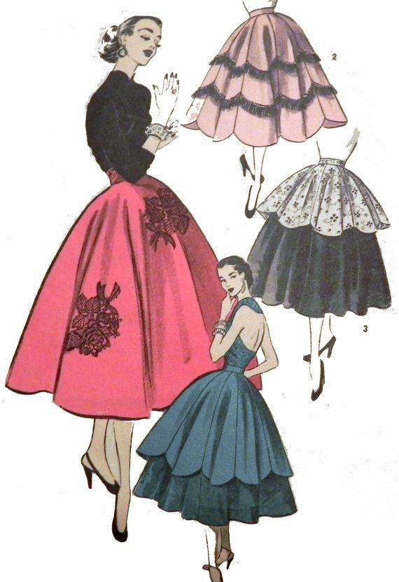 1950s Circle or Gored Petal Skirt sewing by retroactivefuture, $21.00