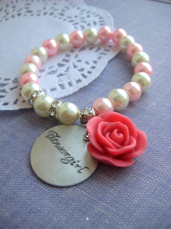 Flower girl rose, stretchy glass pearl rose bracelet. Design your OWN. CHILD sized.