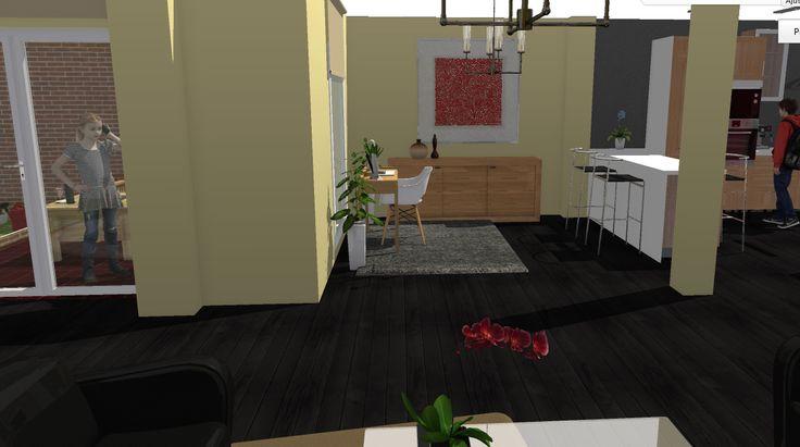 Opción 4 - Vista de zona de transición de cocina con salón