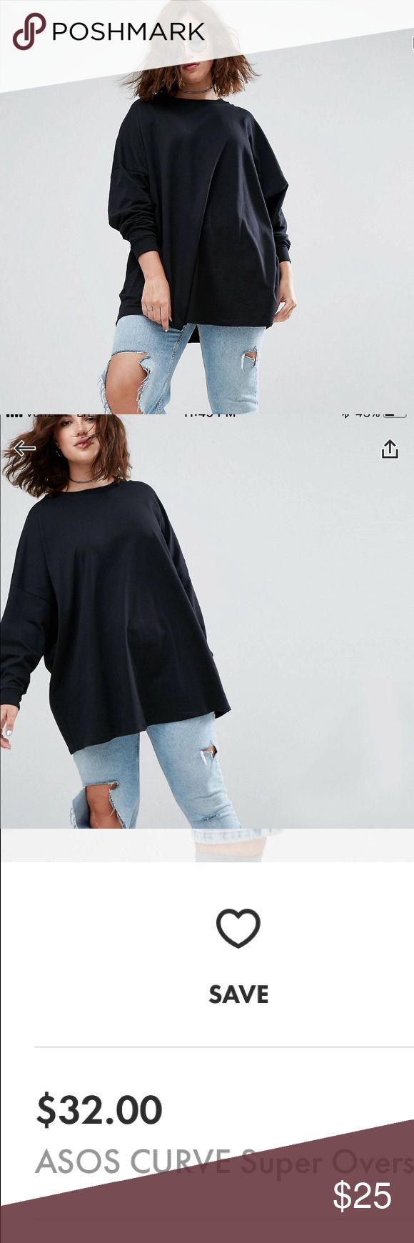 ASOS Curve oversized sweatshirt New with tags. Kept in smoke free home. Bundle for savings! 💕 ASOS Curve Tops Sweatshirts & Hoodies
