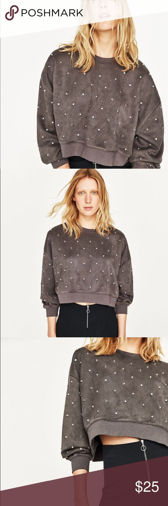 NWOT Zara sweatshirt with metallic detail! I removed the tags when purchased but have never worn this. Sitting in my closet for a month and sold out online! Extremely soft and amazing quality. Heavier weight. Slightly cropped but not too much. Slouchy fit. Ask away:) (grayish-brown color) (has a velvety feel) Zara Tops Sweatshirts & Hoodies