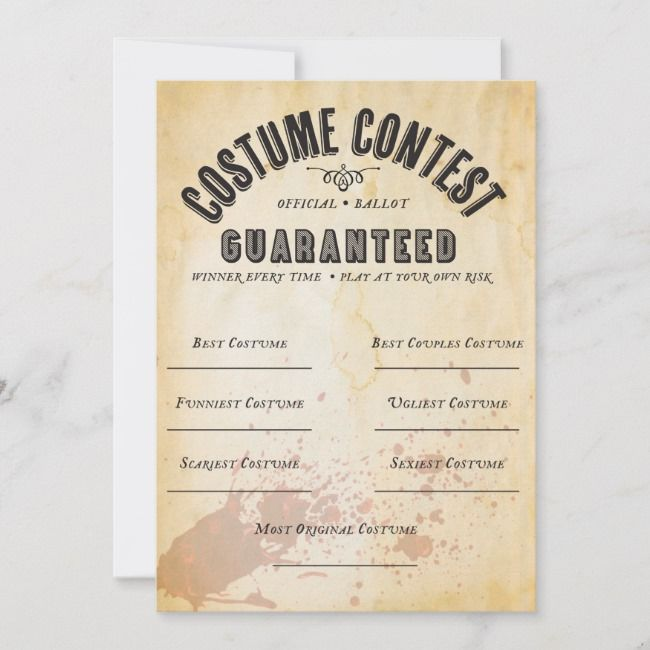 Halloween Costume Contest 2020 Ballot HALLOWEEN COSTUME CONTEST OFFICIAL BALLOT CARD | Zazzle.in