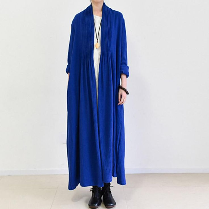 Pleated Blue Plain Long Linen Top Coat