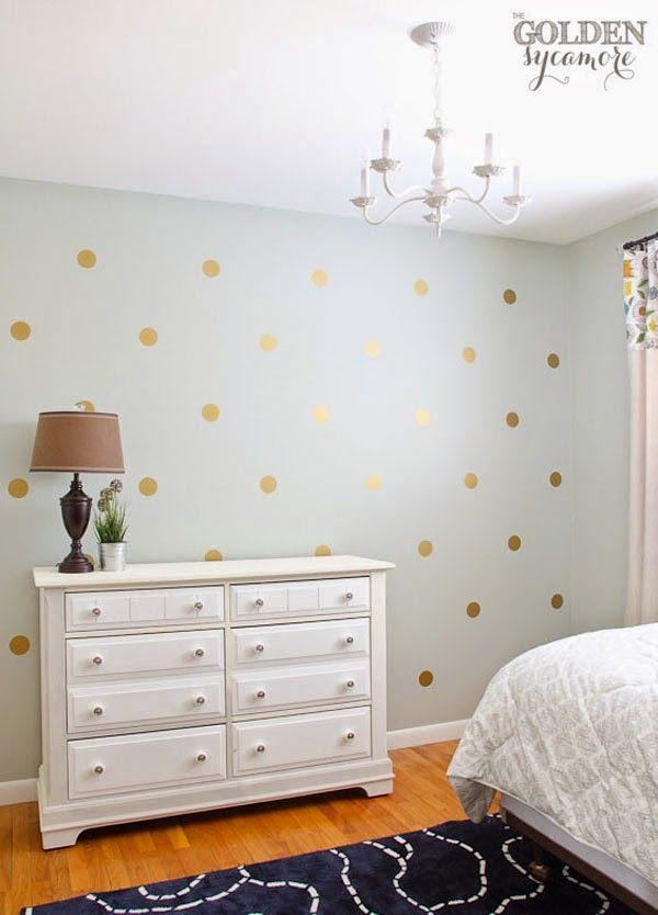 10 paredes de lunares irresistibles (o de cómo hacer la tuya: de colores, dorados, con vinilo, papel, pintados...) · 10 dotted walls (and how to create your own)