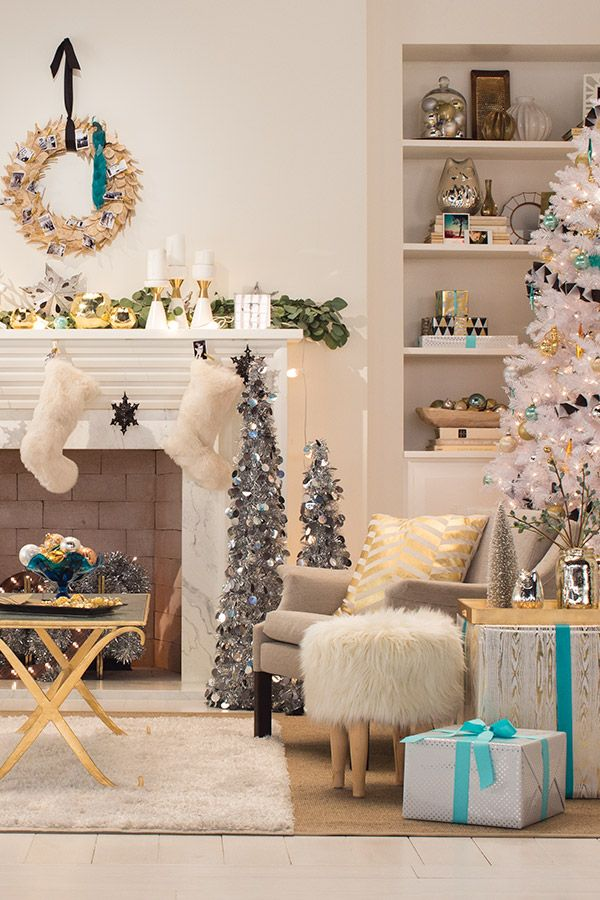 Holiday decor isn't just about red and green anymore—choose a new, quirky color like teal and add it to what you already have for an simple and beautifully unexpected arrangement.