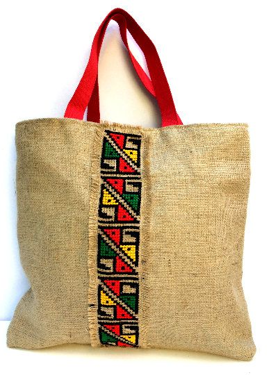 Tribal hand Embroidered Jute Tote Bag, boho style, completely handmade tote, cross-stitched with colorful tribal  pattern, one of a kind by Apopsis on Etsy