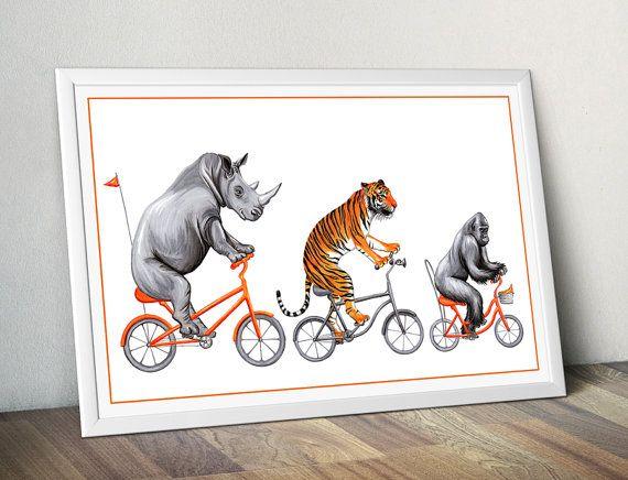 Jolie affiche danimaux en vélo, rhinocéros, tigre et gorille, idéale pour chambre denfant. Format 12 x 18 (30.48 x 45.72 cm) Impression jet dencre