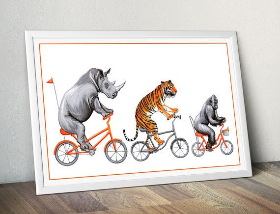 Gorilla on bicycle print cycling gorilla print by AmelieLegault