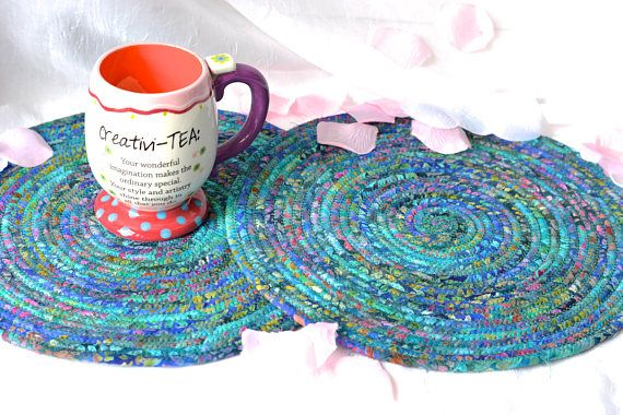 """Artisan Batik Place Mats, 12"""" Handmade Blue Fabric Hot Pads, 2 Beautiful Trivets, Table Toppers, Rustic Coiled Potholders, 2 Placemats  #Wexfordtreasures #trivet #hot pad #mug rug #potholder #table mat #place mat #home #decor #decorative #unique #handmade #gift #decorative    #etsyshop #artisan #coiled #quilted #textile #art #fiber #fabric #rope"""