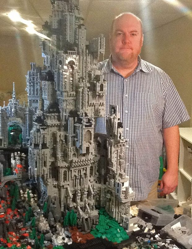 Creator Mike Doyle with his Lego castle half way through the making of it – It may look like a galaxy far far away or a scene from Star Trek, but this impressive castle has been made using more than 200,000 pieces of LEGO.