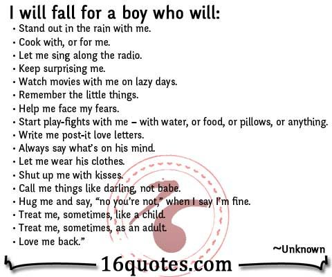 I will fall for a boy who will…Love me back :) – Boyfriend Quote  Things I W...