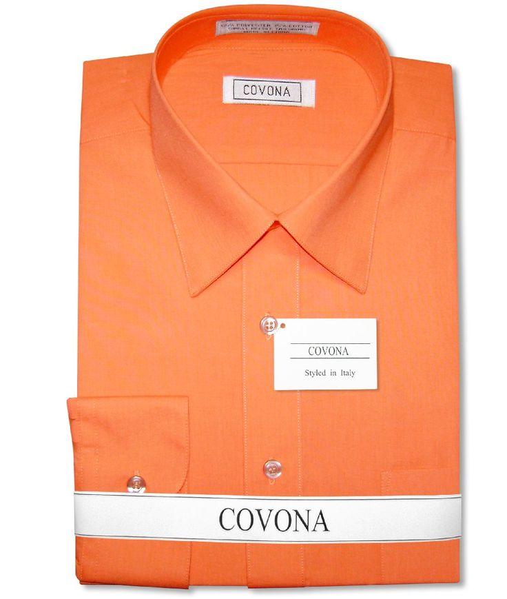 Men's Solid BURNT ORANGE Color Dress Shirt w/ Convertible Cuffs