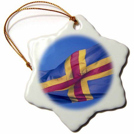 3dRose Finland, Aland Islands, National flag - EU08 NWH0054 - Nik Wheeler, Snowflake Ornament, Porcelain, 3-inch