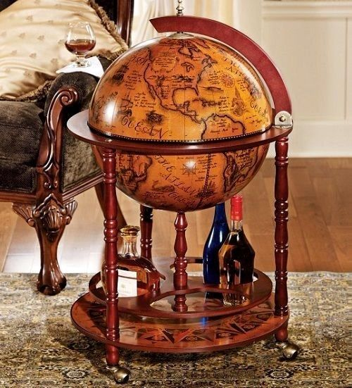 Mini Bar Globe Liquor Cabinet Decor Wine Rolling Storage Roller Cart Stand  Home