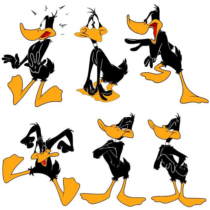 El Pato Lucas o Daffy Duck en 6 poses, en vector e imagen normal. Descarga gratis.
