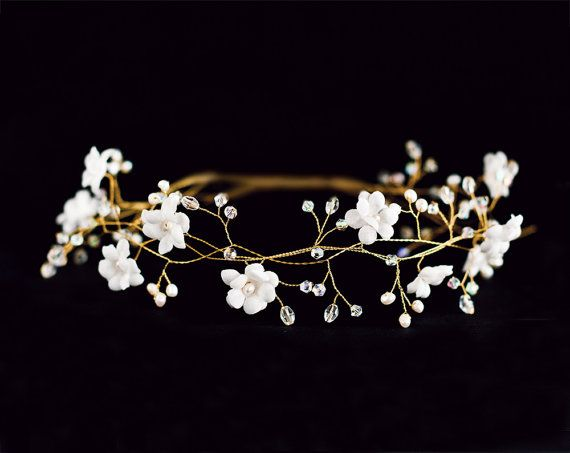 Wedding flower crown White Bridal tiara wedding tiara by ArsiArt