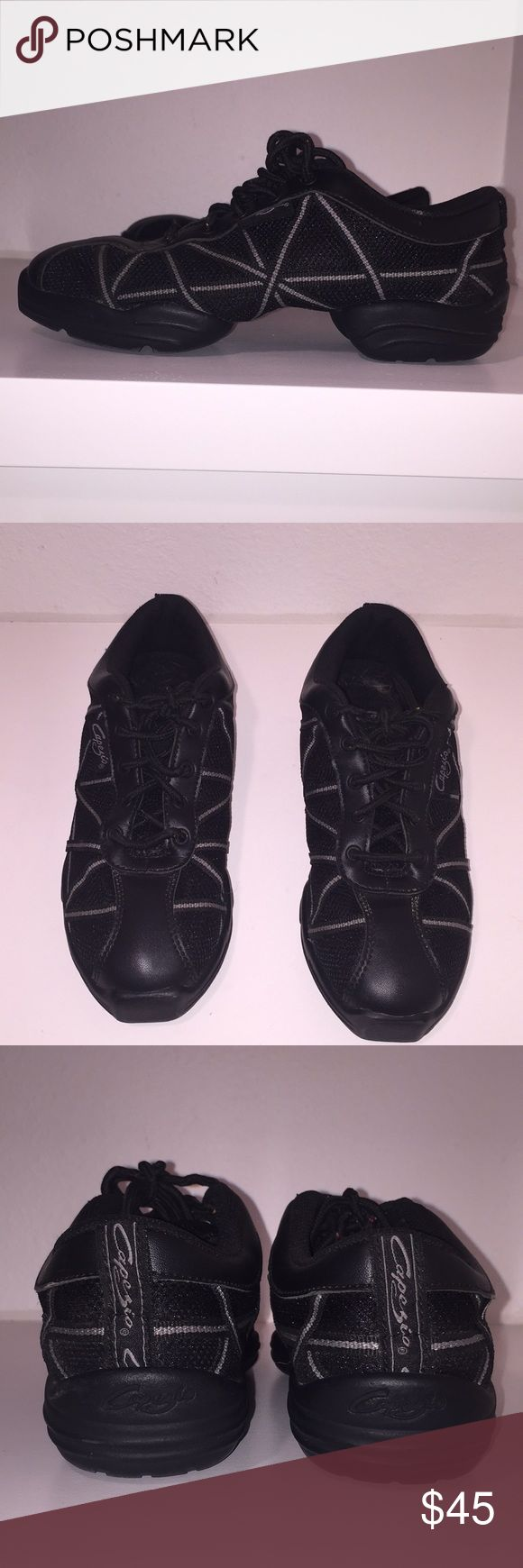 Capezio Dance Sneakers sz 7.5 Only wore 2 times. Capezia Sole Dance Sneaker that you can turn easily with the Spin spot. This shoe is great for Zumba, Hip Hop, Jazz Dance, ballroom classes. Capezio Shoes