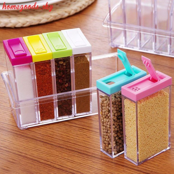 6Pcs Set Plastic Spice Jar Camping Barbecue Portable Storage Containers