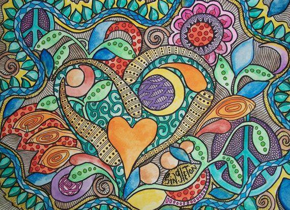 Neon Love Crush Singleton Hippie Art Original by justgivemepeace    #ZentangleDesign    #ColoredZentangle    #art