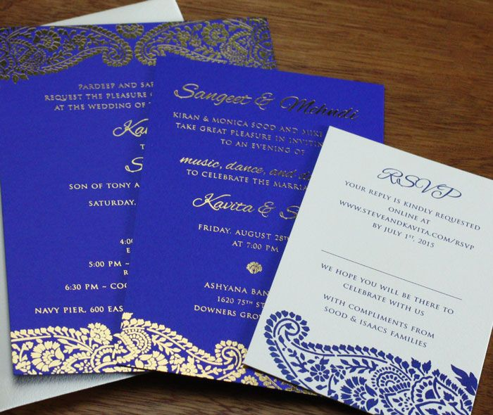 multicultural indian wedding invitation sangeet, mehndi and rsvp card suite with dramatic elegant paisley borders by invitations by ajalon