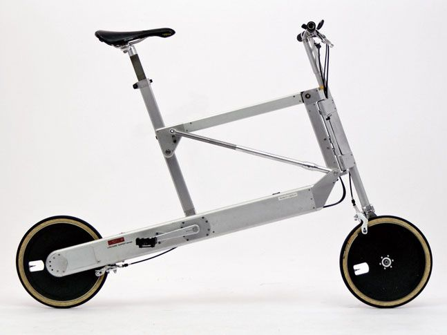 very innovative folding bike. weather sealed drivetrain, folding mechanism similar to an umbrella, dyno and battery for front and rear lights, etc.