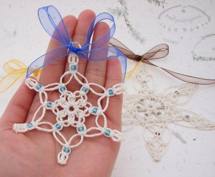 Macrame snowflakes. Perfect for Christmas tree!
