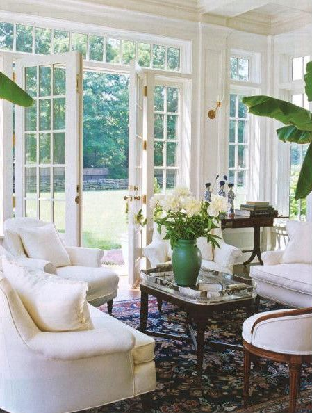 #Cocoscollections Salvaged vinyl french doors w no glass panes will  add architectural interest to area under the cottage. Fresh and lovely living area with french doors to backyard