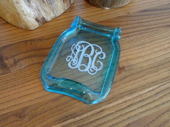 Blue Mason Monogram Modern Pint Melted Slumped Flattened Flat Ball Mason Jar, Home Decor Modern spoon rest cheese plate