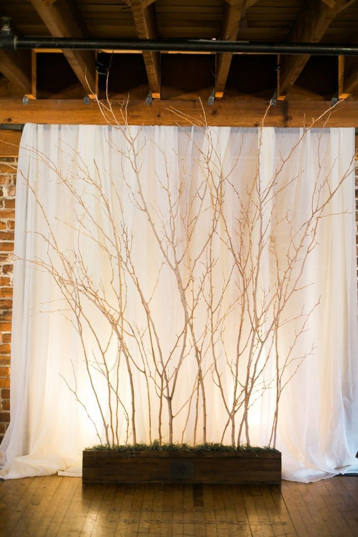 rustic tree branched wedding backdrop                                                                                                                                                     More