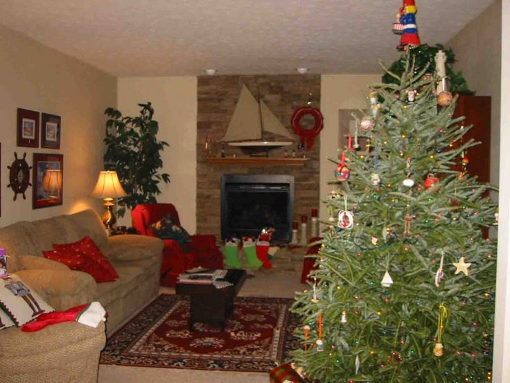 Living Room : Inspiration Interior Mesmerizing Stacked Stone Wall Fireplace With Grey Velvet Sofa Also Green Homemade Christmas Trees And Christmas Living Room Decor Besides Dazzling Christmas Living Room Decor Collection Enjoying Christmas Festivities In Living Room Big Christmas Tree. Christmas Living Room. Small Living Room Christmas Decorating Ideas.