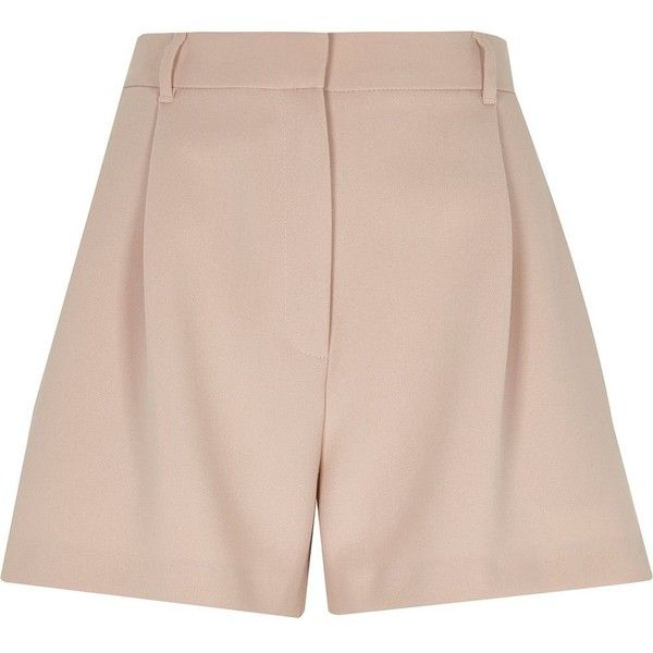 River Island Light pink smart high waisted shorts (£28) ❤ liked on Polyvore featuring shorts, high-waisted shorts, river island, high rise shorts, high waisted zipper shorts and high-rise shorts