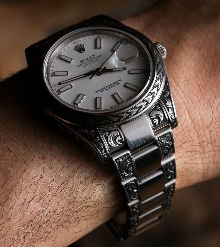 Engraved Rolex in Charcoal Black #rolex #timepiece #luxurymenswatches