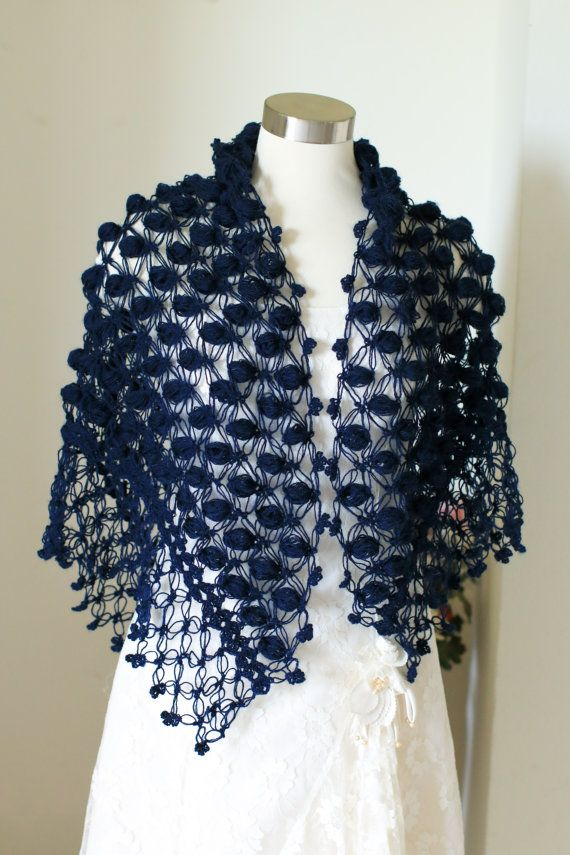 Wedding Shawl Bridal ShawlDark Blue Shawl Bridal by MODAcrochet
